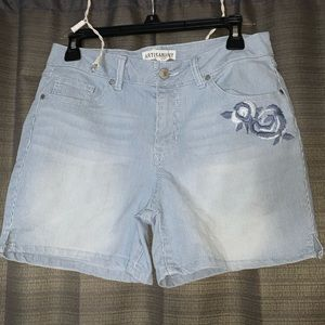 Striped shorts with floral designs